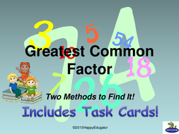 Greatest Common Factor (GCF) PowerPoint and Task Cards