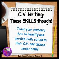 C.V. Writing: Job Skills - employable skills, PowerPoint and activities