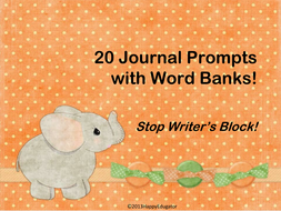 Journal Prompts with Word Banks - Stop Writers Block!