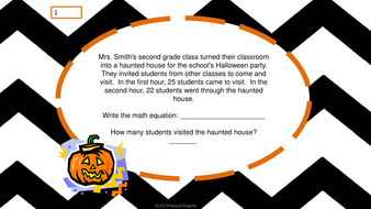 Halloween Math Word Problems - Addition and Subtraction Task Cards