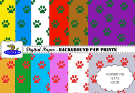 Digital Paper - Paw Prints