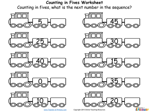 Counting in Multiples of Five by TeacherofPrimary Teaching – Counting by Fives Worksheets
