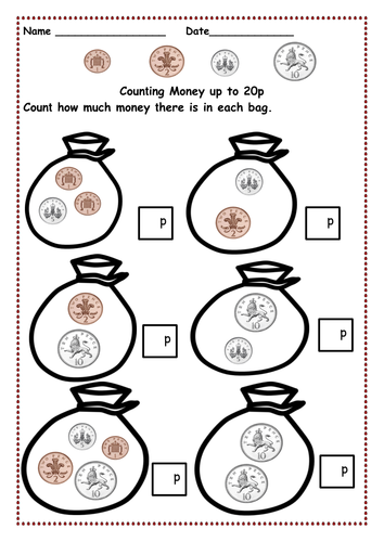 money counting pennies up to 10p and then 15p 20p 30p