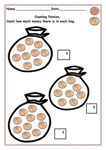 Money - Counting pennies up to 10p and then 15p,20p & 30p using 1p ...