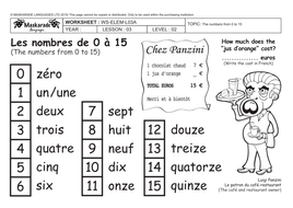 FRENCH-3rd/ 4th- ABOUT YOU: COUNTING UP TO 15- NUMBERS -0-15/ WHERE ...