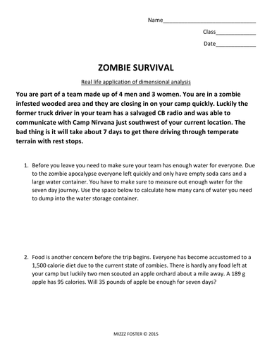 dimensional analysis zombie survival factor label method by mizzzfoster uk teaching. Black Bedroom Furniture Sets. Home Design Ideas