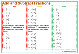Fractions Worksheets (Normal and Algebraic - Equivalent ...