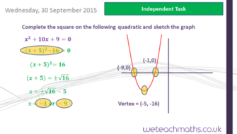 Completing the square - graphing solutions (GCSE Mathematics 9 - 1 ...