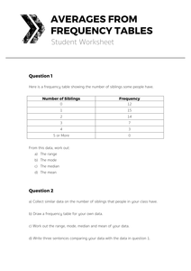 frequency distribution table worksheet pdf