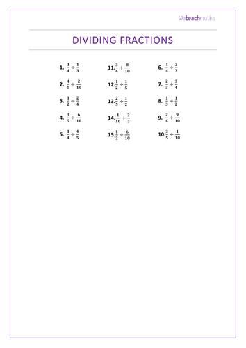 Worksheets For Dividing Fractions & dividing fractions worksheet 6th ...