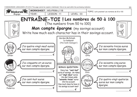 FRENCH-Y5/6-AT SCHOOL: Numbers 0 to 100/ Nombres de 0 à 100/European  currency/ Monnaie européenne