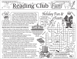 Holiday Food, Films, and Music Two-Page Activity Set