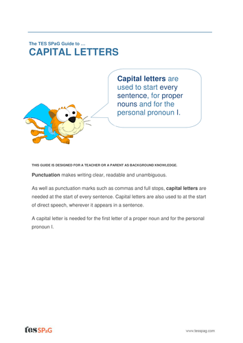 capital letters and full stops homework