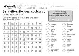 6 FRENCH GRADE 3 4 COLORS WORKSHEETpdf