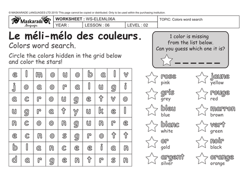 french 3rd 4th grade at school colors les couleurs colors word search by maskaradelanguages. Black Bedroom Furniture Sets. Home Design Ideas