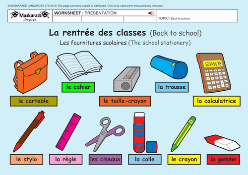 french 2nd 3rd grades at school school stationery numbers up to 20 by maskaradelanguages. Black Bedroom Furniture Sets. Home Design Ideas
