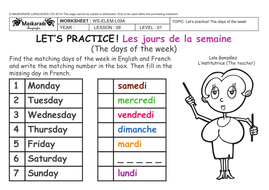FRENCH - 2ND/3RD GRADES- AT SCHOOL: The days of the week by ...