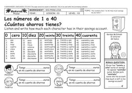spanish y5 y6 about you numbers 0 40 los n meros del 0 al 40 my savings account by. Black Bedroom Furniture Sets. Home Design Ideas