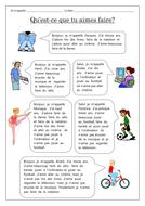 FRENCH -  Hobbies - Qu'est-ce que tu aimes faire? - Worksheets