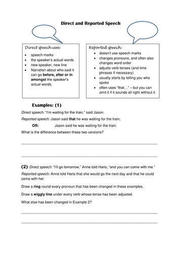 Direct and Reported Speech worksheets with optional powerpoint by ...