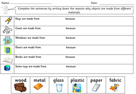 Year 1 Science - Everyday materials topic pack - powerpoints, worksheets  activities and display