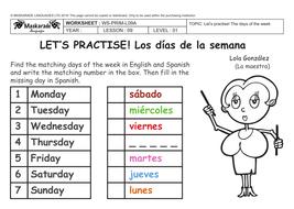 SPANISH-AT-SCHOOL-Y3-Y4: The days of the week | Teaching ...