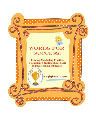 Top Resolutions: Words for Success: Reading, Vocab, Discussion, and Writing About Goals