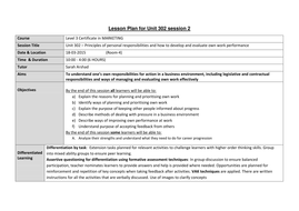 302unit 302 evaluate and improve Evidence for this unit can only be achieved through actual work in a work environment simulation  evaluation on performance  improve organisational.