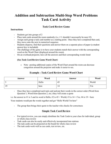 Addition And Subtraction Multi Step Word Problems Task