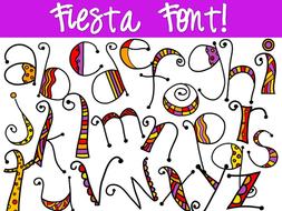 Fiesta Font Lowercase Letters Clip Art Lettering