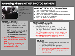 Analysis Help Sheets For Photographs Own What To Write About Own Photographs And Photographers