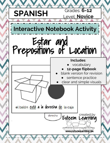 estar and prepositions of location flipbook spanish interactive notebook by contact esteem. Black Bedroom Furniture Sets. Home Design Ideas