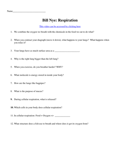 Bill Nye Video Worksheets Four Biology Cells And Body Systems