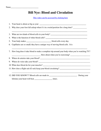 Bill Nye Video Worksheets - Complete 20 Video Worksheet Collection ...