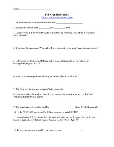 Bill Nye Video Worksheets Complete 20 Video Worksheet Collection