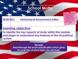 US Government & Politics Introduction: Unit of Work