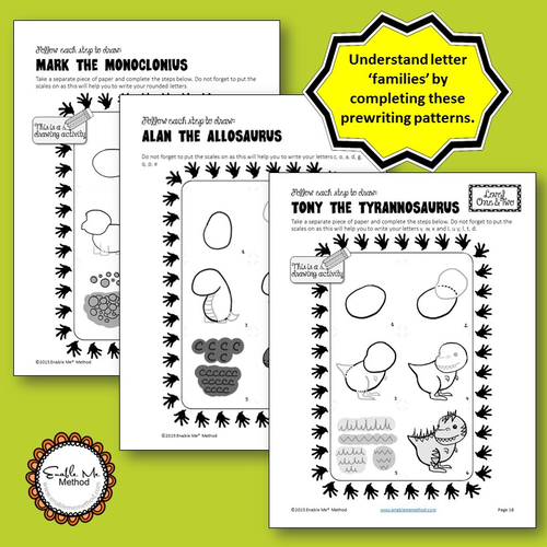 early years cursive handwriting for 5 7 years dinosaurs foundation ks1 by enablememethod. Black Bedroom Furniture Sets. Home Design Ideas