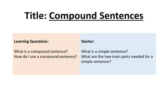 compound sentences by ryancooke teaching resources tes