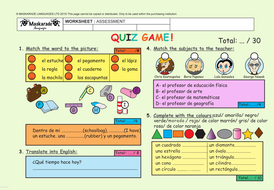 SPANISH-ASSESSMENT-QUIZ-TEST-Y5-Y6-UNIT 2: AT SCHOOL:  Colours/Shapes/Stationery/Numbers/Family tree