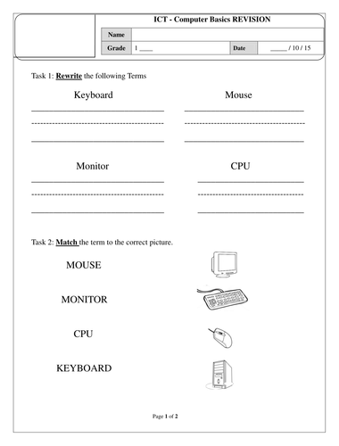 Printables Basic Computer Skills Worksheets parts of a computer worksheet by afreenkh teaching resources tes