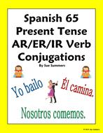 present 65 år Spanish Verbs 65 AR/ER/IR Regular Verb Conjugations Present Tense  present 65 år