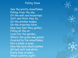 Snow powerpoint for winter poetry and writing template