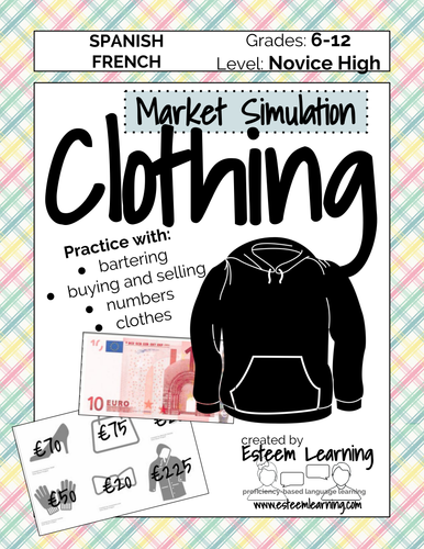 Language Resources: Interactive Notebook Clothing Lesson and Market Simulation - Spanish or French