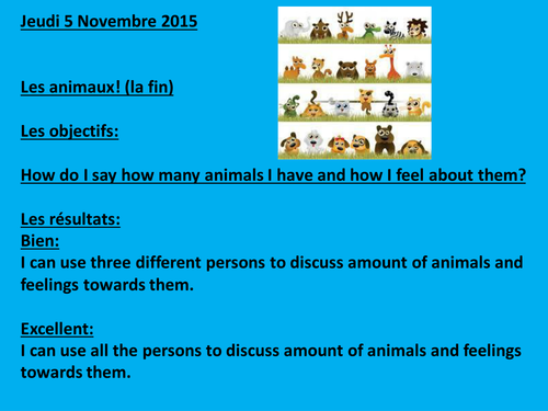 Les animaux:  Verb to have with feeling verbs and how to make the plural and the singular, reading!