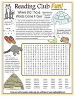 Contributions from Native American (and Inuit) Languages Word Search Puzzle