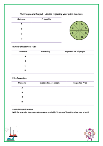 Effective Communication Worksheet Probability  Relative Frequency And Expectation  Fairground  Alphabet Worksheets For Nursery Excel with Using Formulas Worksheet Word Probability  Relative Frequency And Expectation  Fairground Project Gcse  Maths  By Weteachmaths  Teaching Resources  Tes A Tracing Worksheet