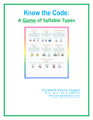 Featured Author Elizabeth Kenny-Foggin: Know the Code: A Game of Syllable Types