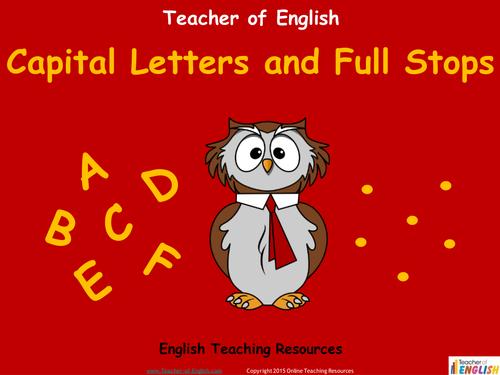 capital letters full stops worksheet pdf