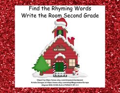 write the room activity find the rhyming word grade 2 ccss christmas theme