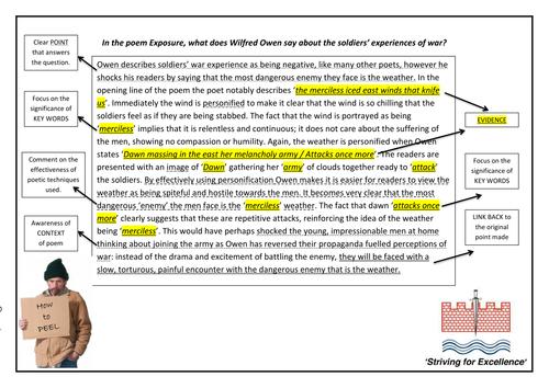 Perfect peel poetry paragraphs exposure example by brennanptes teaching resources tes - Prieel structuur ...